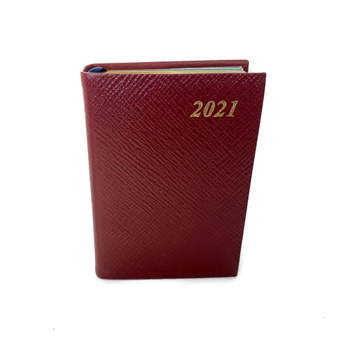 "Charing Cross 2021 4"" Crossgrain Leather One Day Per Page Calendar in Burgundy"
