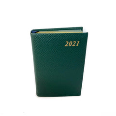 "Charing Cross 2021 4"" Crossgrain Leather One Day Per Page Calendar in Hunter Green-Calendar-Sterling-and-Burke"
