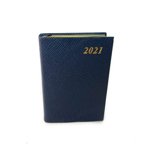 "Charing Cross 2021 4"" Crossgrain Leather One Day Per Page Pocket Calendar in Navy"