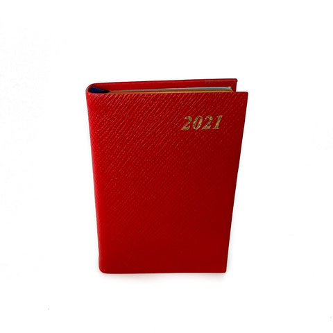 "Charing Cross 2021 4"" Crossgrain Leather One Day Per Page Calendar in Scarlet"