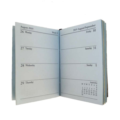Year 2019 Diary, 3 by 2 | Crossgrain Leather | D732L-Calendar-Sterling-and-Burke