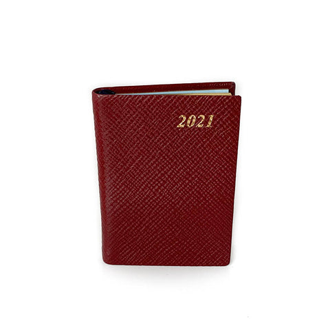 "Charing Cross 2021 3"" Crossgrain Leather Pocket Calendar in Burgundy"