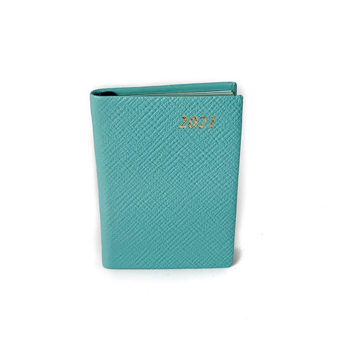 "Charing Cross 2021 3"" Crossgrain Leather Pocket Calendar in Aqua"