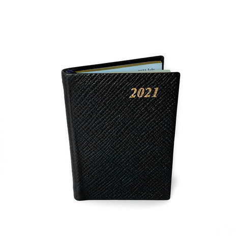 "Charing Cross 2021 3"" Crossgrain Leather Pocket Calendar in Black-Calendar-Sterling-and-Burke"