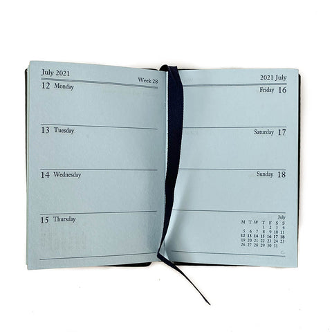 "Charing Cross 2021 3"" Crossgrain Leather Pocket Calendar in Navy-Calendar-Sterling-and-Burke"