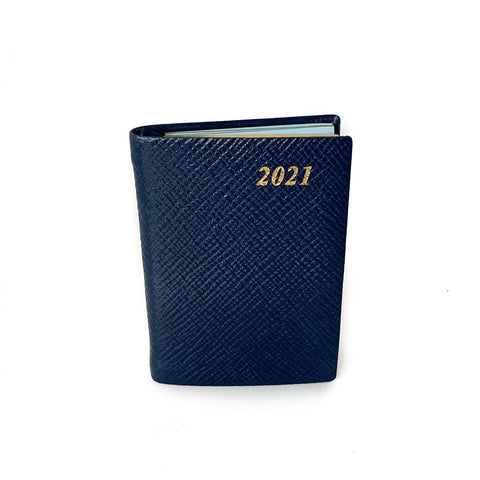 "Charing Cross 2021 3"" Crossgrain Leather Pocket Calendar in Navy"