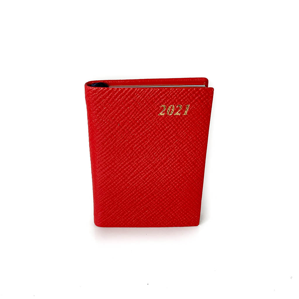 "Charing Cross 2021 3"" Crossgrain Leather Pocket Calendar in Scarlet-Calendar-Sterling-and-Burke"