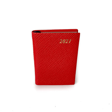 "Charing Cross 2021 3"" Crossgrain Leather Pocket Calendar in Scarlet"