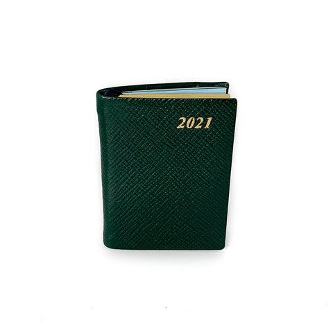 "Charing Cross 2021 3"" Crossgrain Leather Pocket Calendar in Hunter Green"