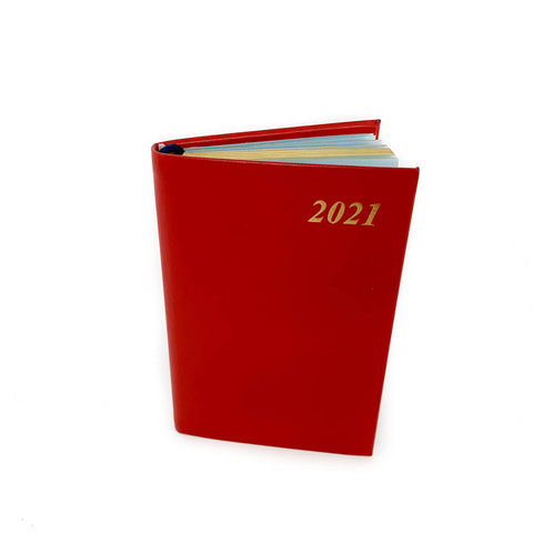 "Charing Cross 2021 4"" Bonded Leather Pocket Calendar in Scarlet"