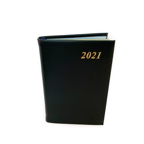 "Charing Cross 2021 4"" Calf Leather Pocket Calendar in Black"