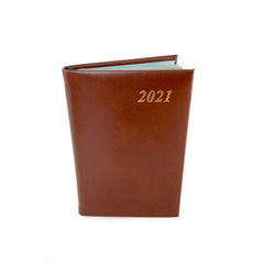 "Charing Cross 2021 4"" Calf Leather Pocket Calendar in Brown-Calendar-Sterling-and-Burke"