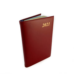 "Charing Cross 2021 4"" Calf Leather Pocket Calendar Burgundy-Calendar-Sterling-and-Burke"