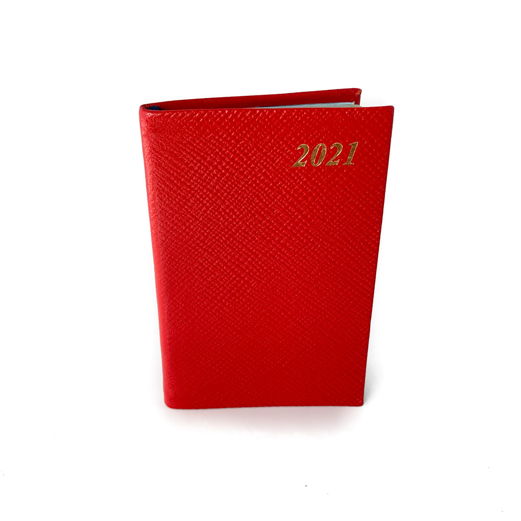 "Charing Cross 2021 4"" Crossgrain Leather Pocket Calendar Scarlet-Calendar-Sterling-and-Burke"