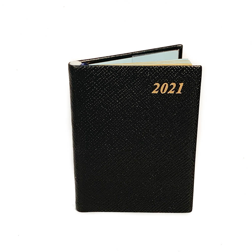 "Charing Cross 2021 4"" Crossgrain Leather Calendar with Pencil in Black-Calendar-Sterling-and-Burke"