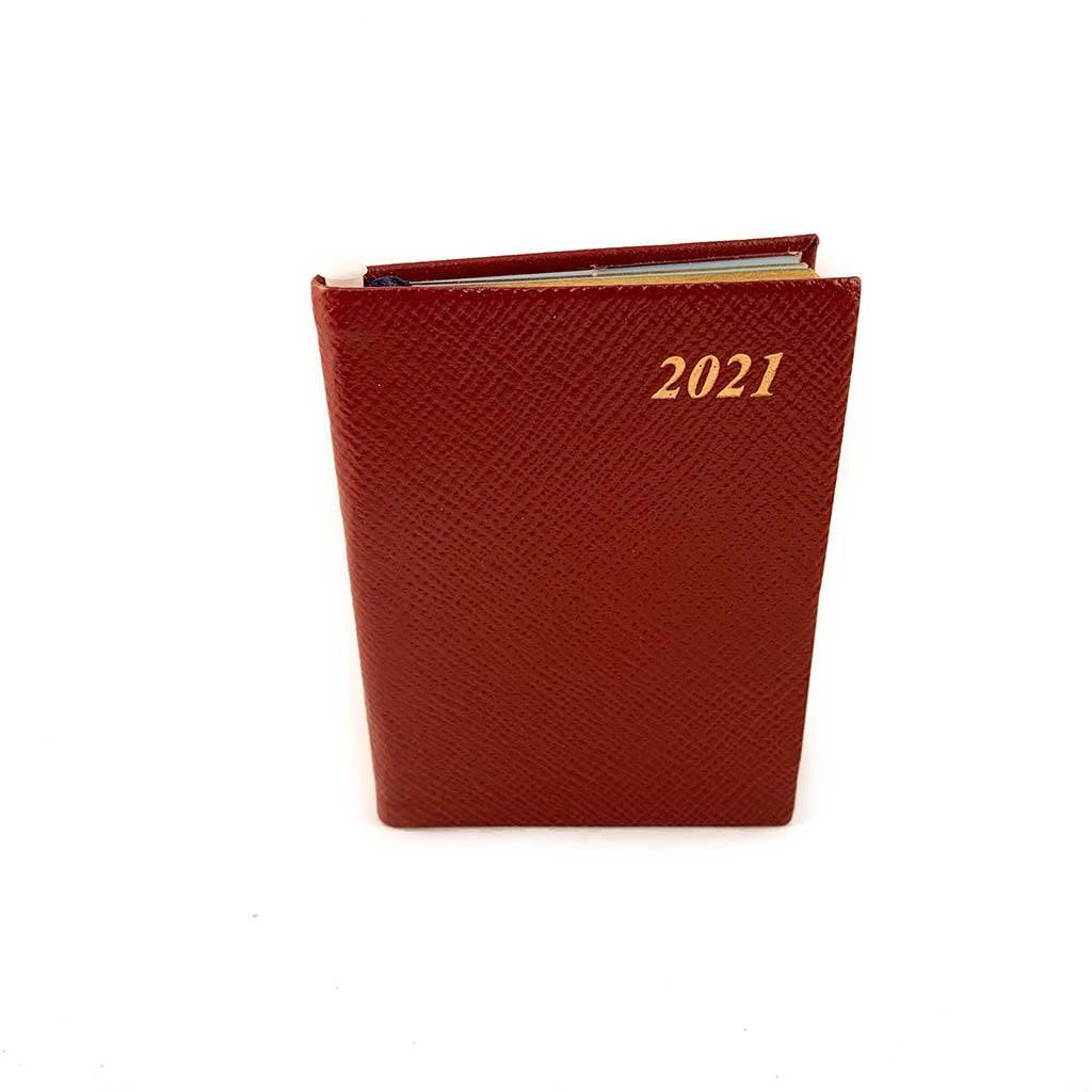 "Charing Cross 2021 4"" Crossgrain Leather Calendar with Pencil in Burgundy-Calendar-Sterling-and-Burke"