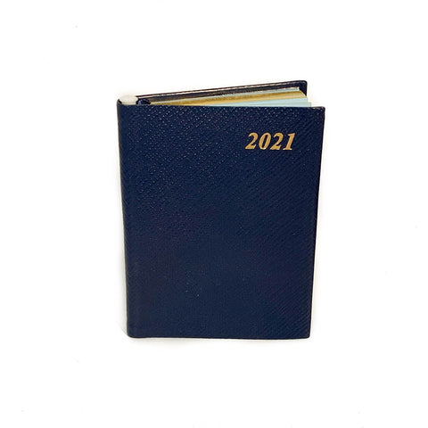 "Charing Cross 2021 4"" Crossgrain Leather Calendar with Pencil in Navy-Calendar-Sterling-and-Burke"