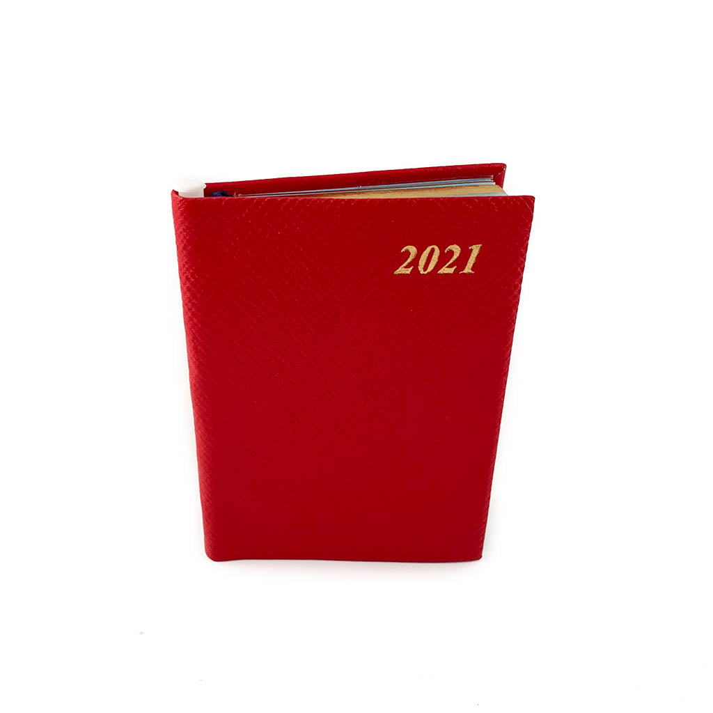 "Charing Cross 2021 4"" Crossgrain Leather Calendar with Pencil in Scarlet-Calendar-Sterling-and-Burke"