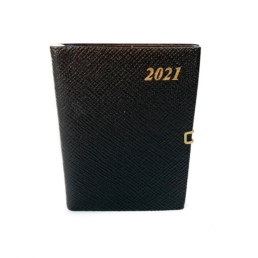 "Charing Cross 2021 4"" Crossgrain Leather Calendar with Pencil and Clasp in Black-Calendar-Sterling-and-Burke"