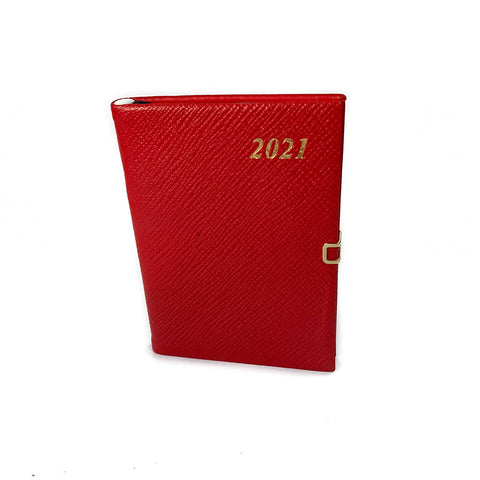 "Charing Cross 2021 4"" Crossgrain Leather Calendar with Pencil and Clasp in Scarlet"