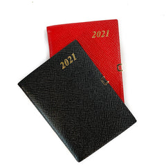 "Charing Cross 2021 4"" Crossgrain Leather Calendar with Pencil and Clasp in Scarlet-Calendar-Sterling-and-Burke"