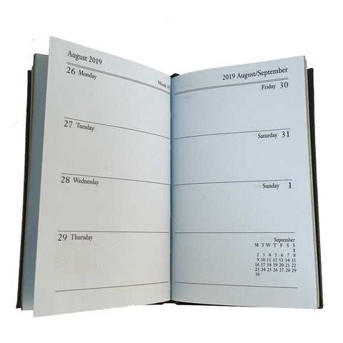 Year 2019 Diary, 5 by 3 | Crossgrain | Pencil & Clasp | D753LJC-Calendar-Sterling-and-Burke
