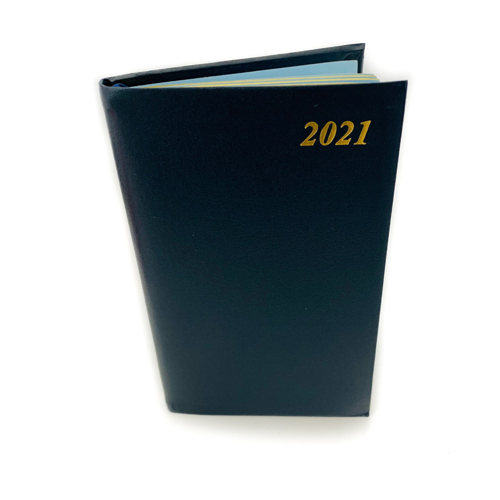 "Charing Cross 2021 5"" Bonded Leather Pocket Calendar in Navy-Calendar-Sterling-and-Burke"