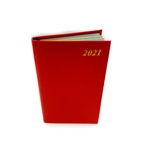 "Charing Cross 2021 5"" Bonded Leather Pocket Calendar in Scarlet"