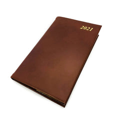 "Charing Cross 2021 5"" Calf Leather Pocket Calendar in Brown-Calendar-Sterling-and-Burke"