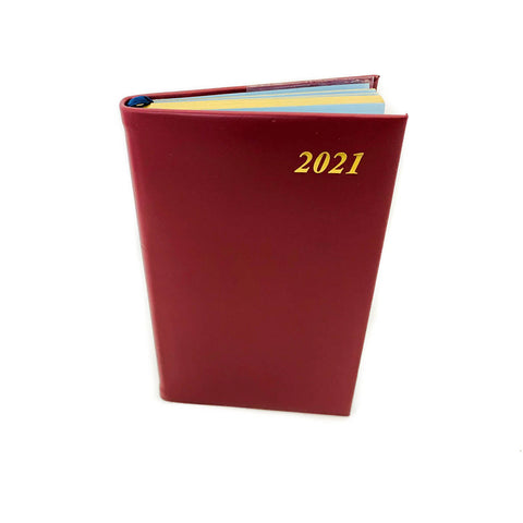 "Charing Cross 2021 5"" Calf Leather Pocket Calendar in Burgundy"