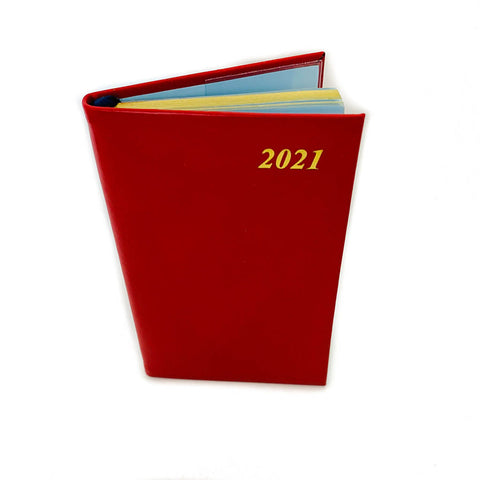 "Charing Cross 2021 5"" Calf Leather Pocket Calendar in Scarlet"