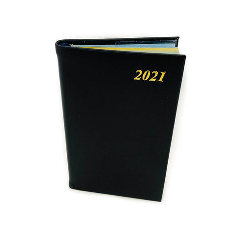 "Charing Cross 2021 5"" Calf Leather Pocket Calendar in Black"