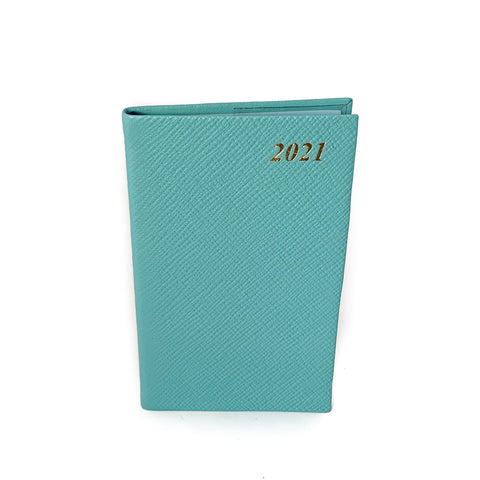 "Charing Cross 2021 5"" Crossgrain Leather Pocket Calendar in Aqua"