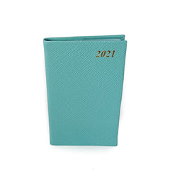 "Charing Cross 2021 5"" Crossgrain Leather Pocket Calendar in Aqua-Calendar-Sterling-and-Burke"