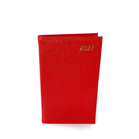 "Charing Cross 2021 5"" Crossgrain Leather Pocket Calendar in Scarlet"