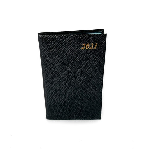 "Charing Cross 2021 5"" Crossgrain Leather Calendar in Black-Calendar-Sterling-and-Burke"