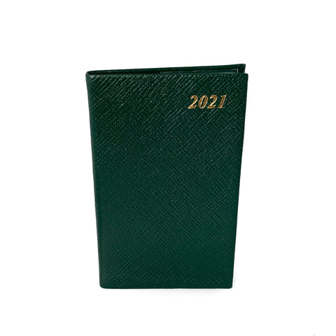 "Charing Cross 2021 5"" Crossgrain Leather Pocket Calendar in Hunter Green"