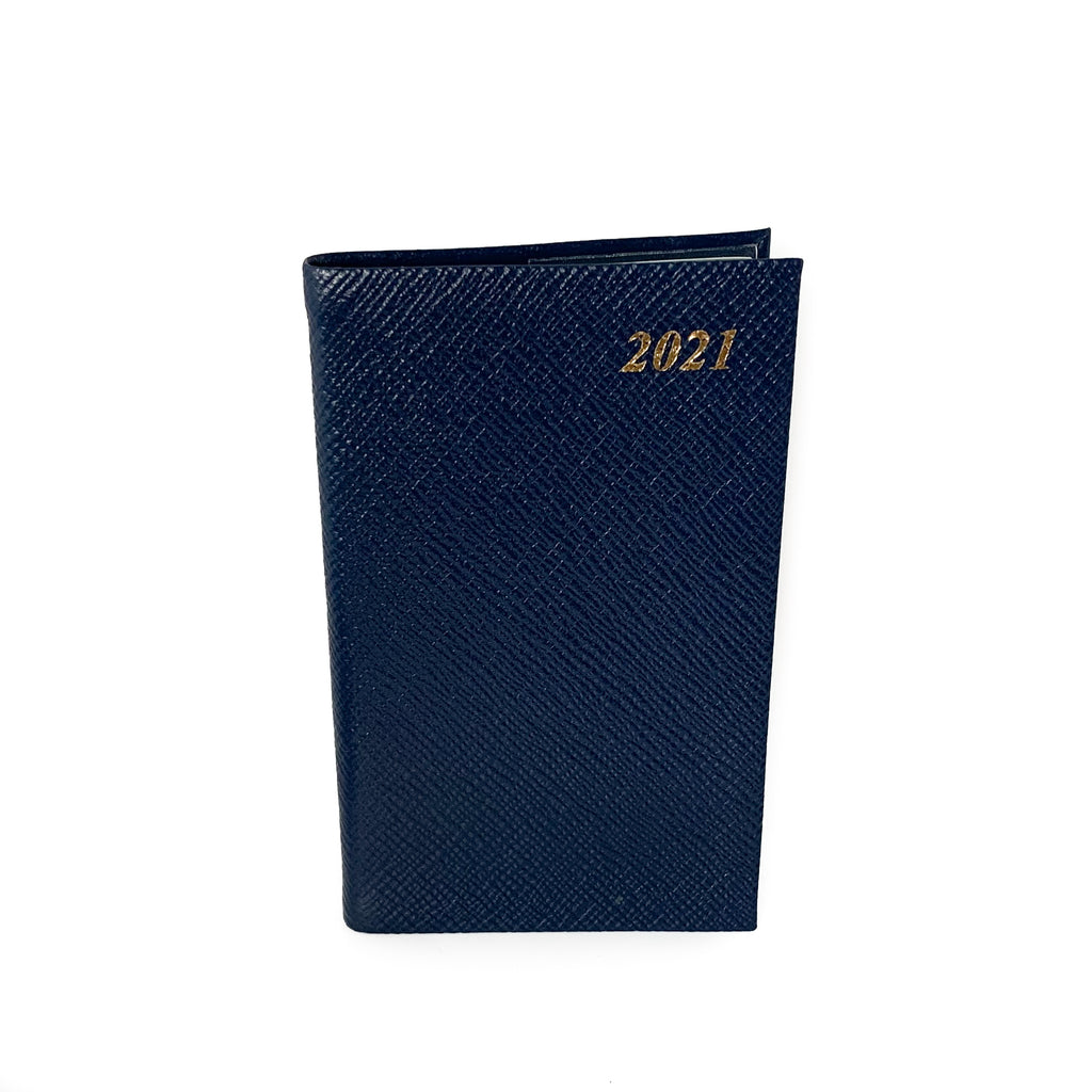 "Charing Cross 2021 5"" Crossgrain Leather Pocket Calendar in Navy-Calendar-Sterling-and-Burke"