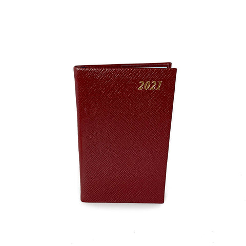 "Charing Cross 2021 5"" Crossgrain Leather Pocket Calendar in Burgundy"