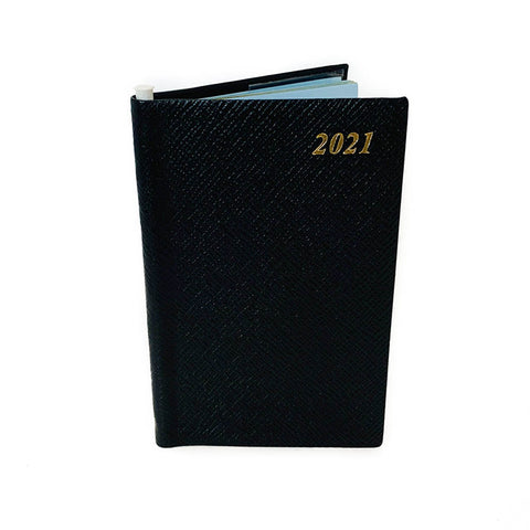 "Charing Cross 2021 5"" Crossgrain Leather Calendar with Pencil in Spine in Black"