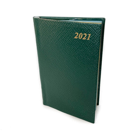 "Charing Cross 2021 5"" Crossgrain Leather Calendar with Pencil in Spine in Hunter Green-Calendar-Sterling-and-Burke"