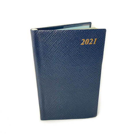 "Charing Cross 2021 5"" Crossgrain Leather Calendar with Pencil in Spine in Navy"