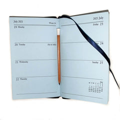 "Charing Cross 2021 5"" Crossgrain Leather Calendar with Pencil in Spine in Navy-Calendar-Sterling-and-Burke"