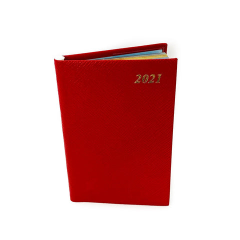 "Charing Cross 2021 5"" Crossgrain Leather Calendar with Pencil in Spine in Scarlet"