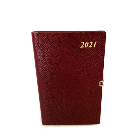 "Charing Cross 2021 5"" Crossgrain Leather Calendar with Pencil & Clasp in Burgundy-Calendar-Sterling-and-Burke"
