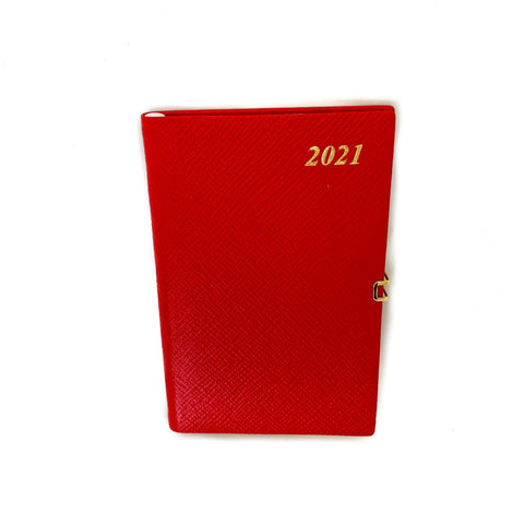 "Charing Cross 2021 5"" Crossgrain Leather Calendar with Pencil & Clasp in Scarlet-Calendar-Sterling-and-Burke"