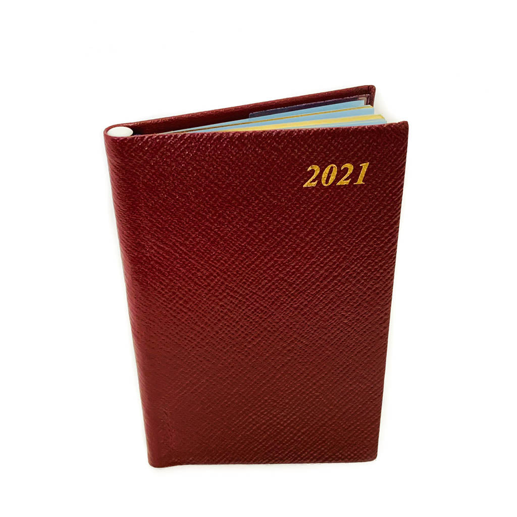 "Charing Cross 2021 5"" Crossgrain Leather Calendar with Pencil in Spine in Burgundy-Calendar-Sterling-and-Burke"