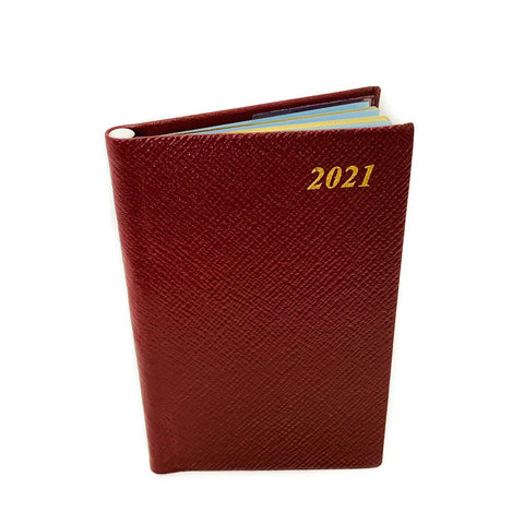 "Charing Cross 2021 5"" Crossgrain Leather Calendar with Pencil in Spine in Burgundy"