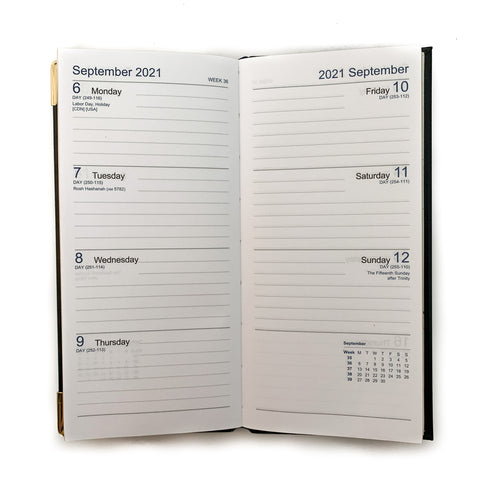 "Charing Cross 2021 6"" Calf Leather Pocket Calendar in Black-Calendar-Sterling-and-Burke"