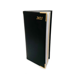 "Charing Cross 2021 6"" Bonded Leather Pocket Calendar in Black-Calendar-Sterling-and-Burke"